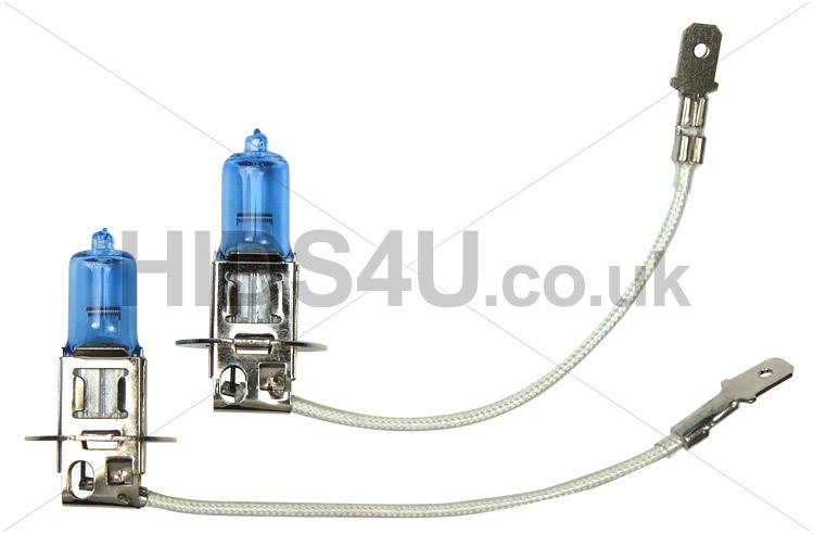 H3 55W Ice Blue Bulbs Rated At 6500K