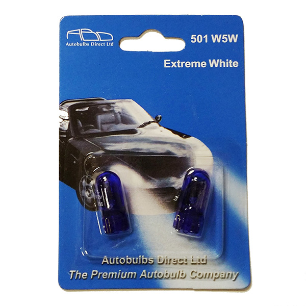 501 ABD Extreme White 12V 5W W5W Wedge Bulbs (Pair)